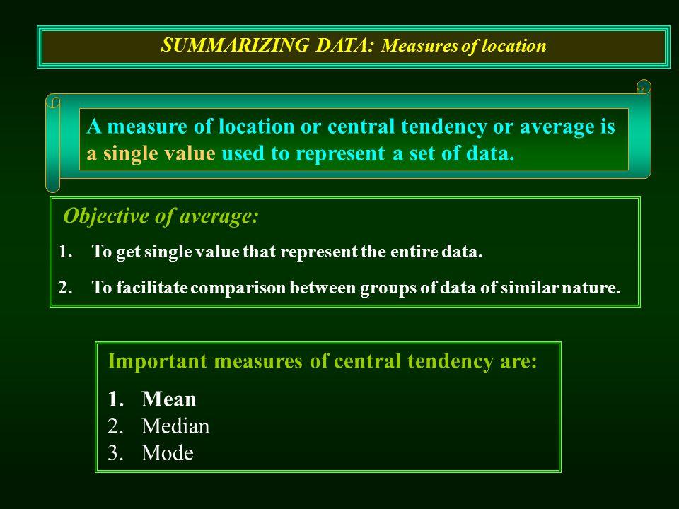 SUMMARIZING DATA: Measures of location