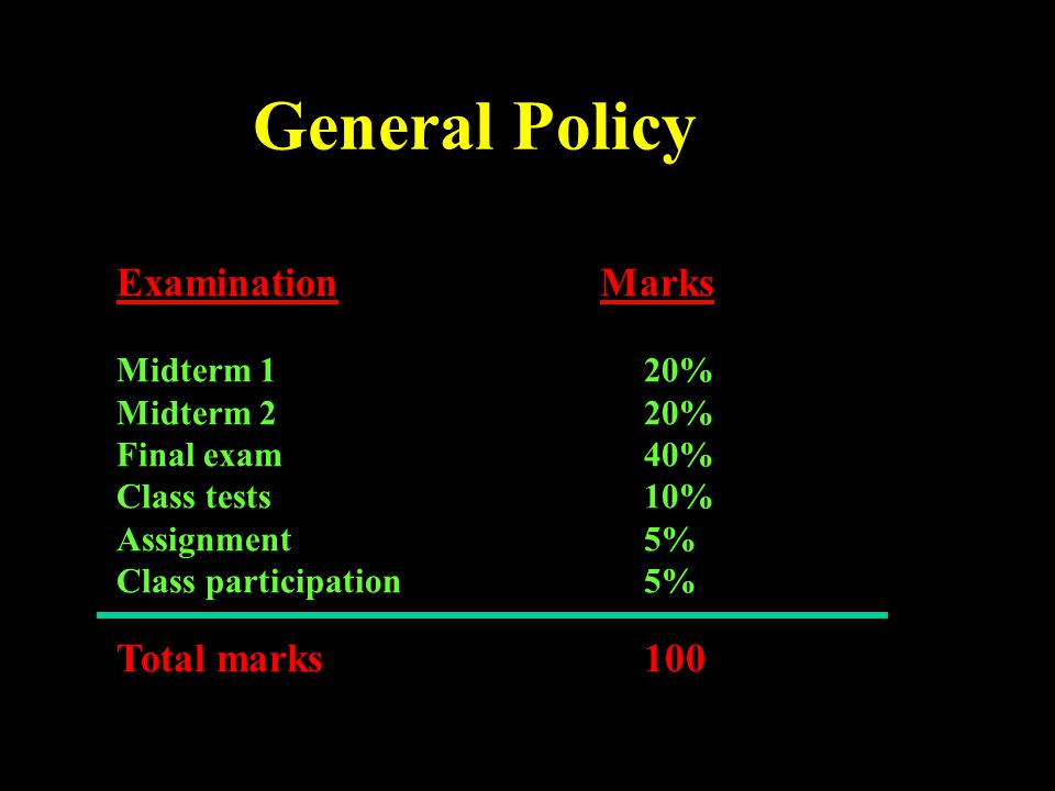 General Policy Examination Marks Total marks 100 Midterm 1 20%