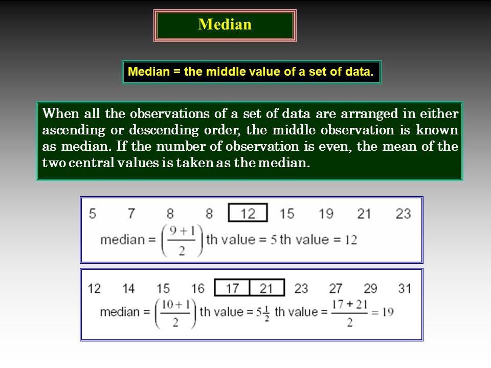 Median Median = the middle value of a set of data.