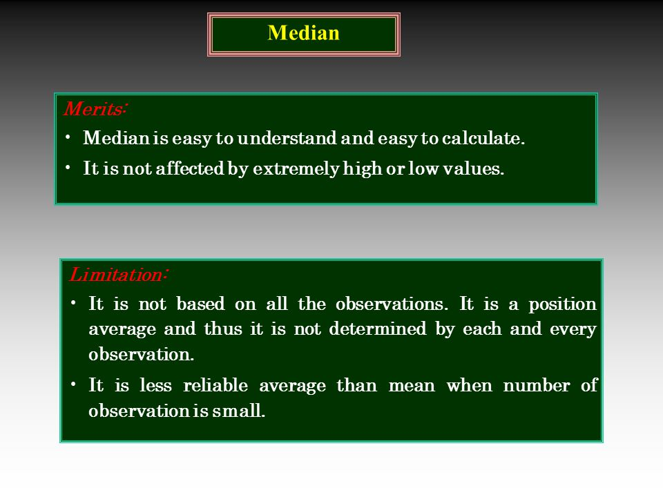 Median Merits: Median is easy to understand and easy to calculate.