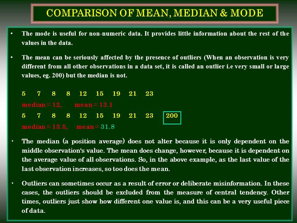 COMPARISON OF MEAN, MEDIAN & MODE