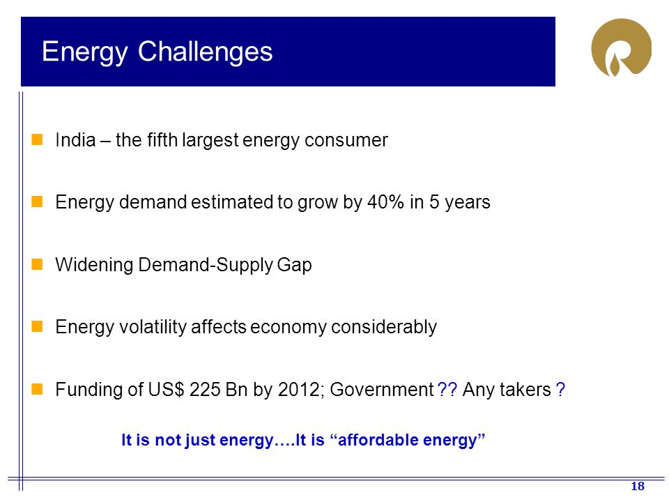 Energy Challenges India – the fifth largest energy consumer
