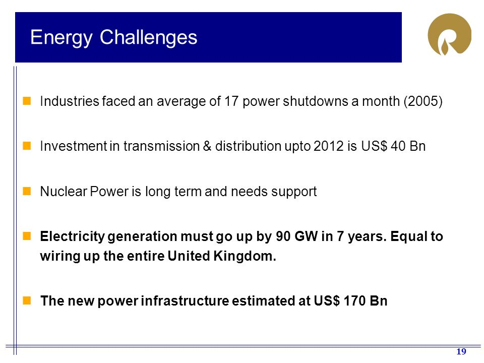 Energy Challenges Industries faced an average of 17 power shutdowns a month (2005) Investment in transmission & distribution upto 2012 is US$ 40 Bn.
