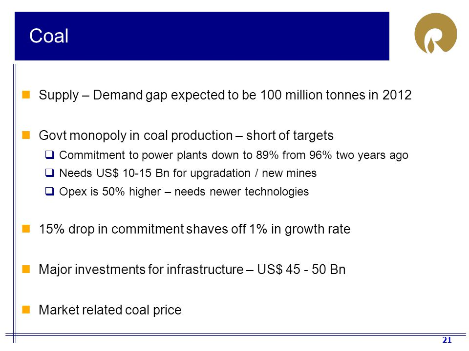 Coal Supply – Demand gap expected to be 100 million tonnes in 2012