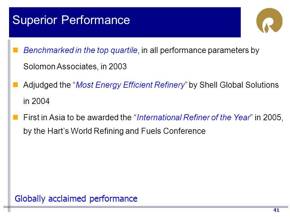 Superior Performance Globally acclaimed performance