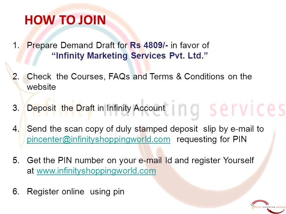 HOW TO JOIN Prepare Demand Draft for Rs 4809/- in favor of