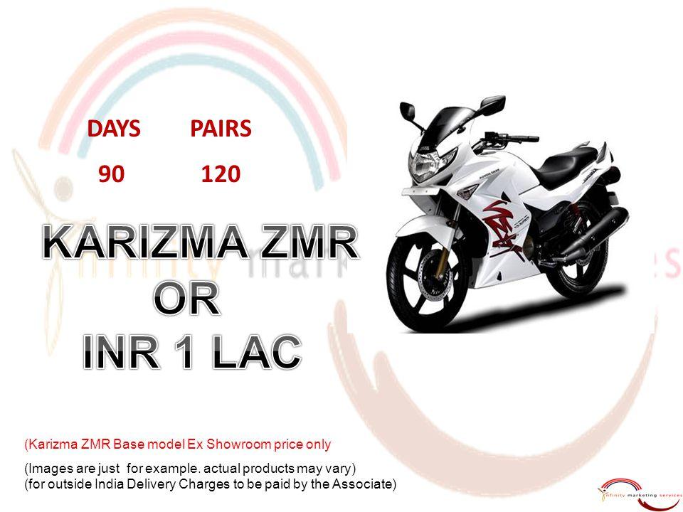 KARIZMA ZMR OR INR 1 LAC DAYS PAIRS 90 120