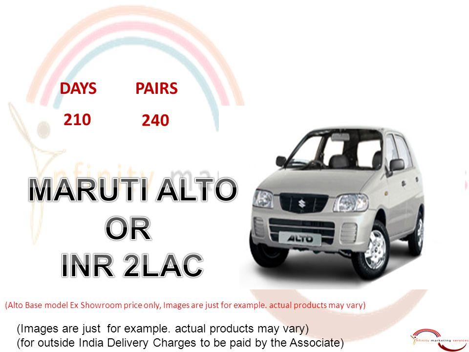 MARUTI ALTO OR INR 2LAC DAYS PAIRS 210 240