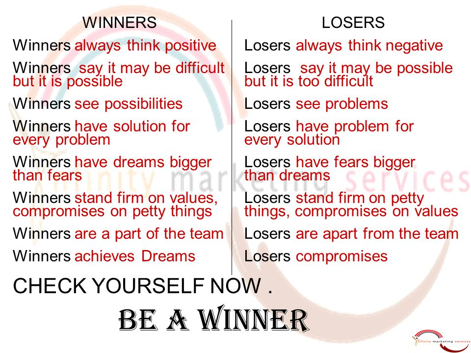 BE A WINNER CHECK YOURSELF NOW . WINNERS Winners always think positive