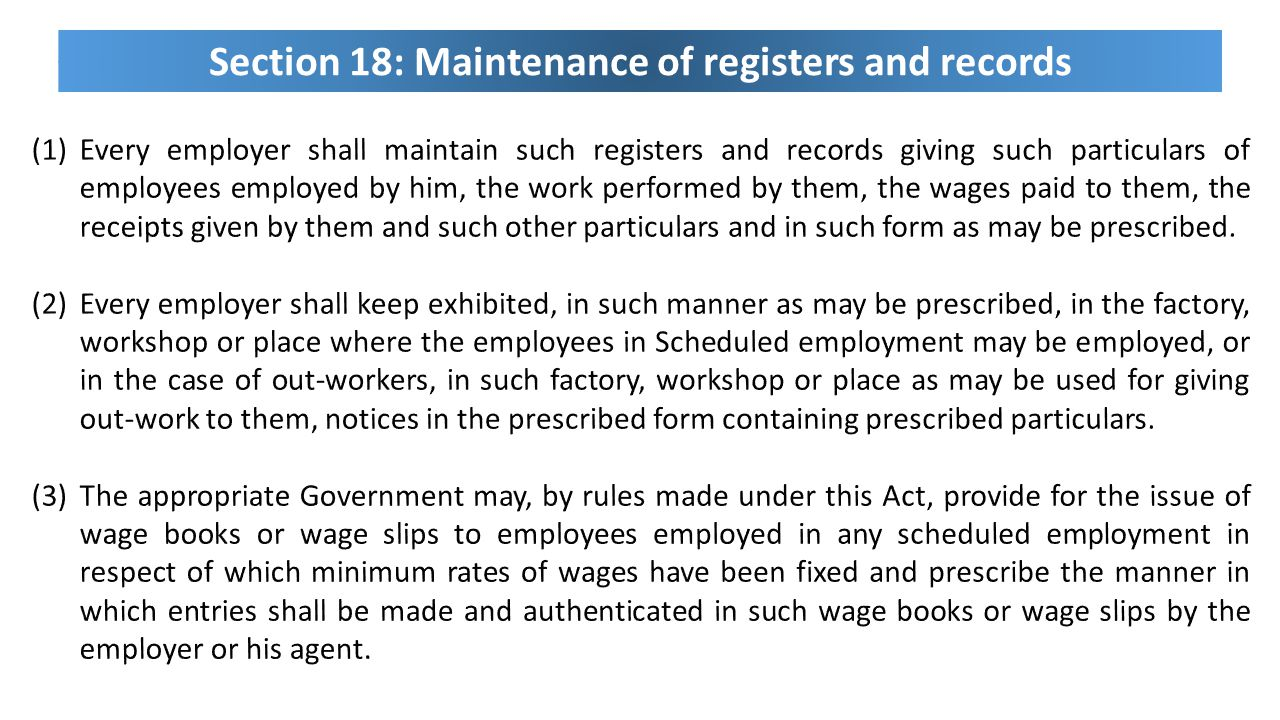 Section 18: Maintenance of registers and records
