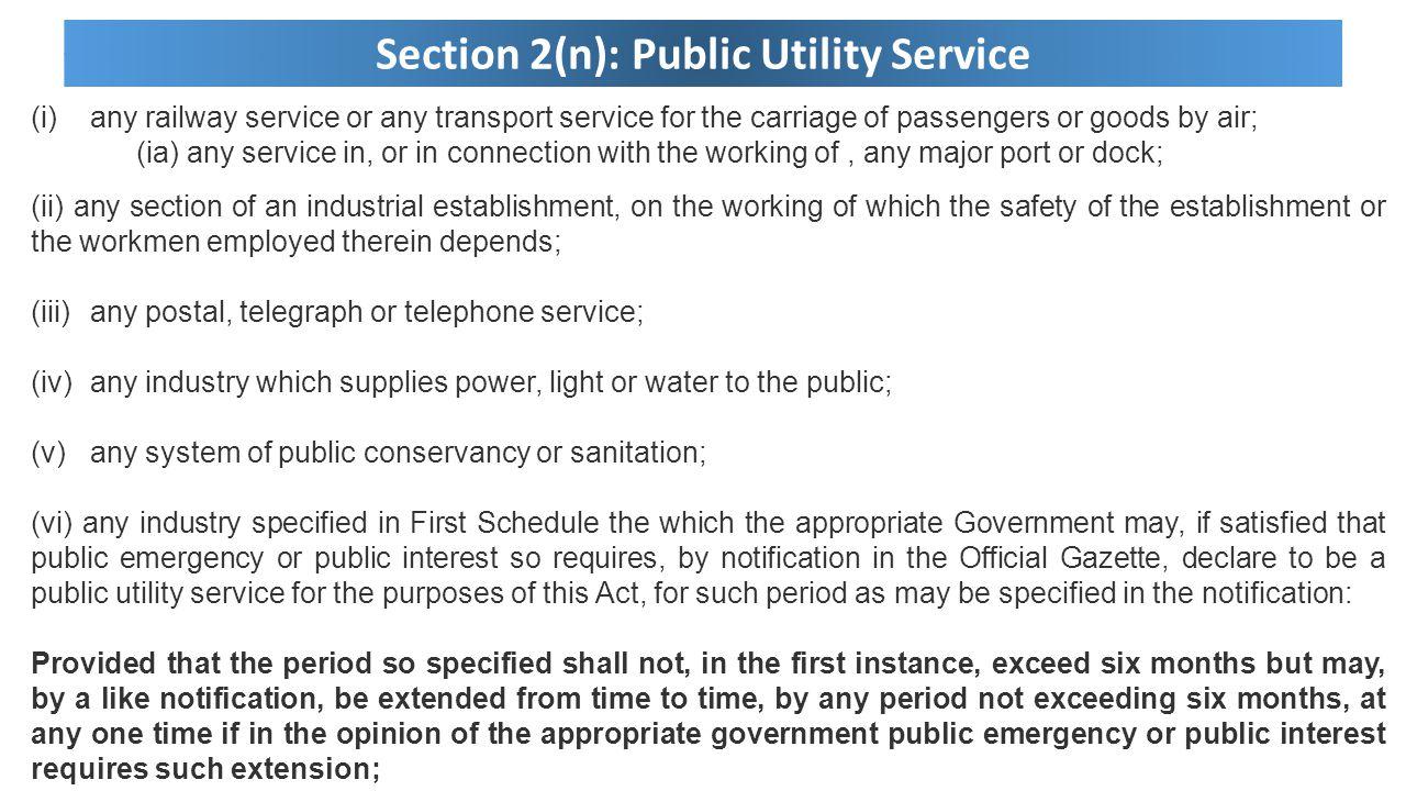 Section 2(n): Public Utility Service