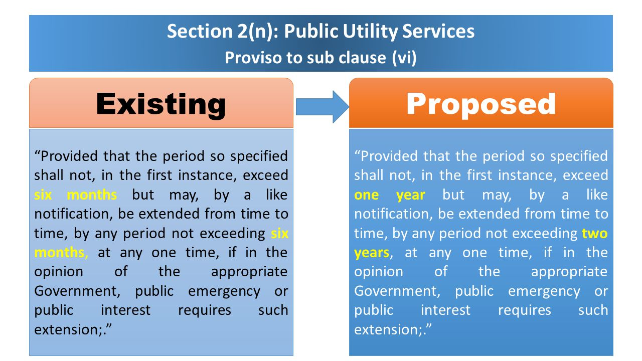 Section 2(n): Public Utility Services Proviso to sub clause (vi)