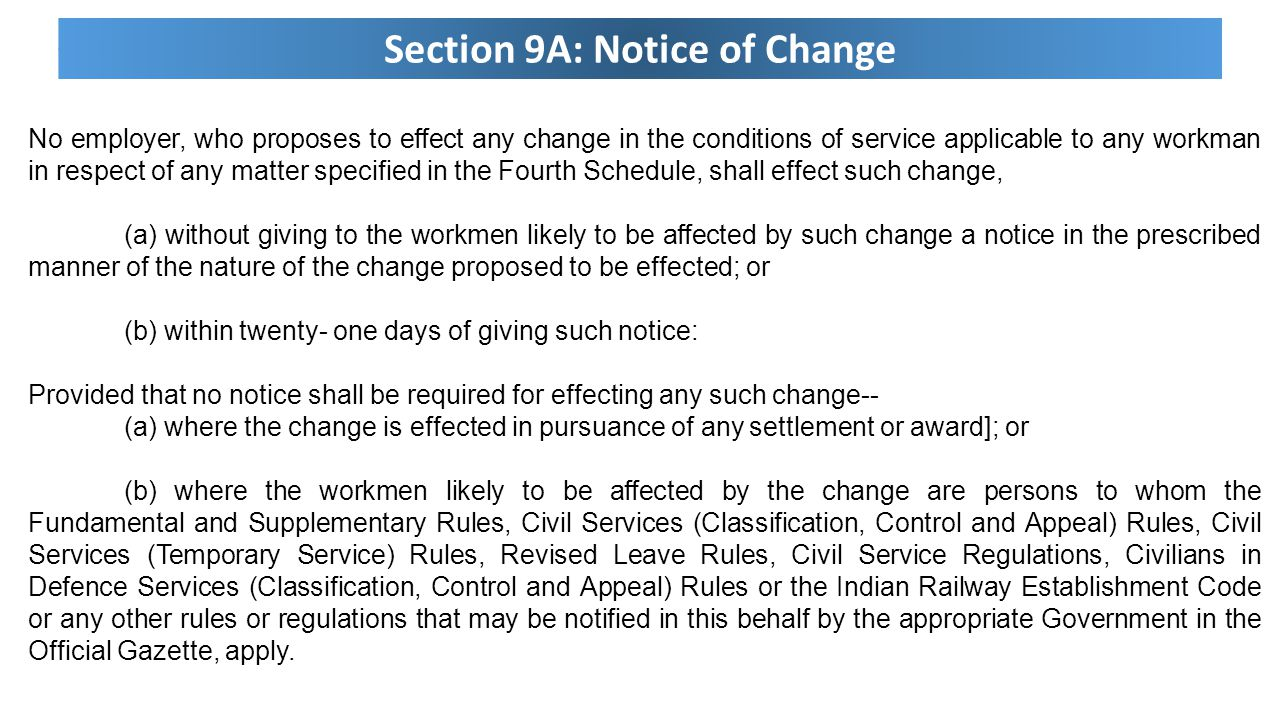 Section 9A: Notice of Change