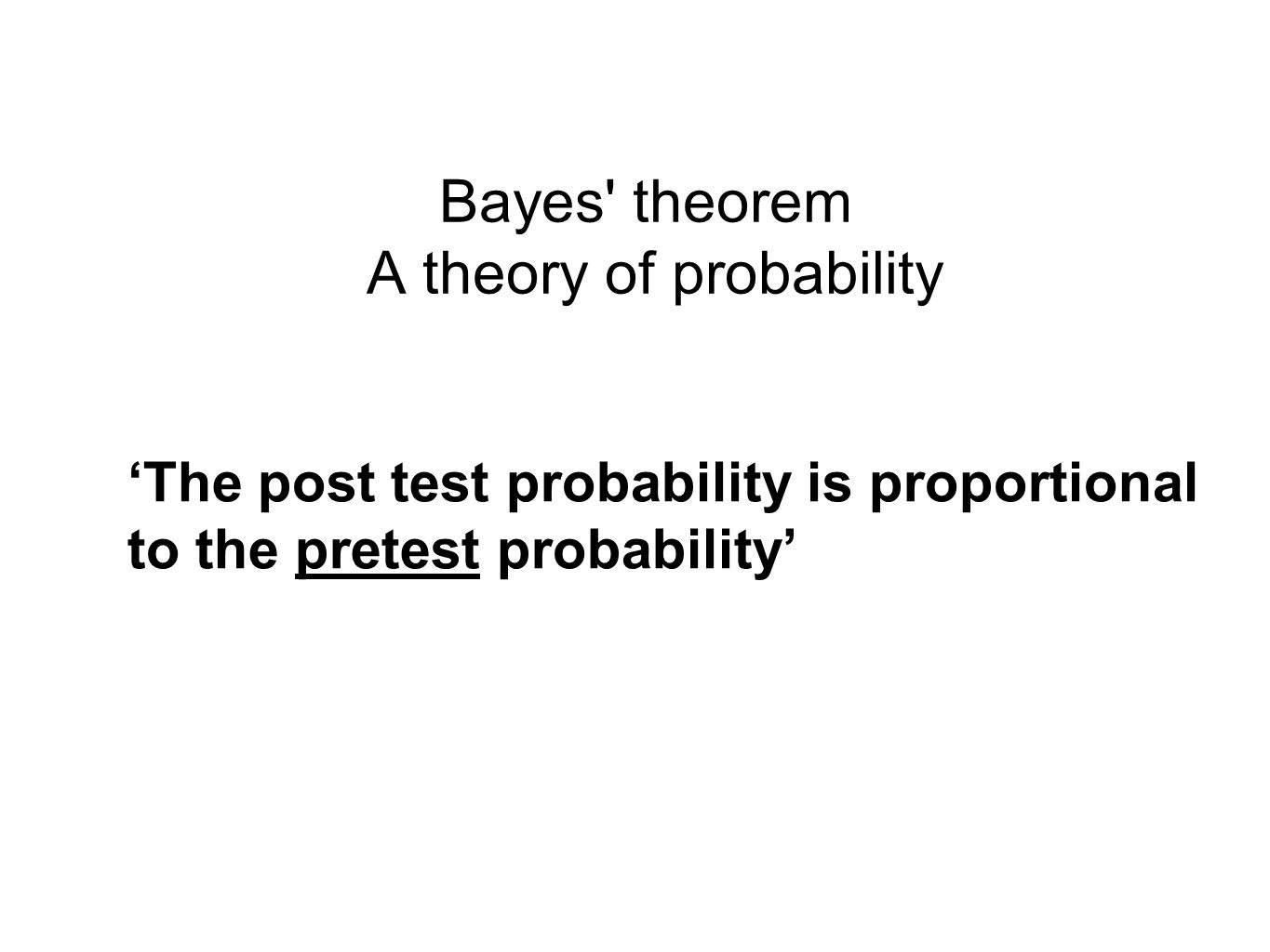 Bayes theorem A theory of probability
