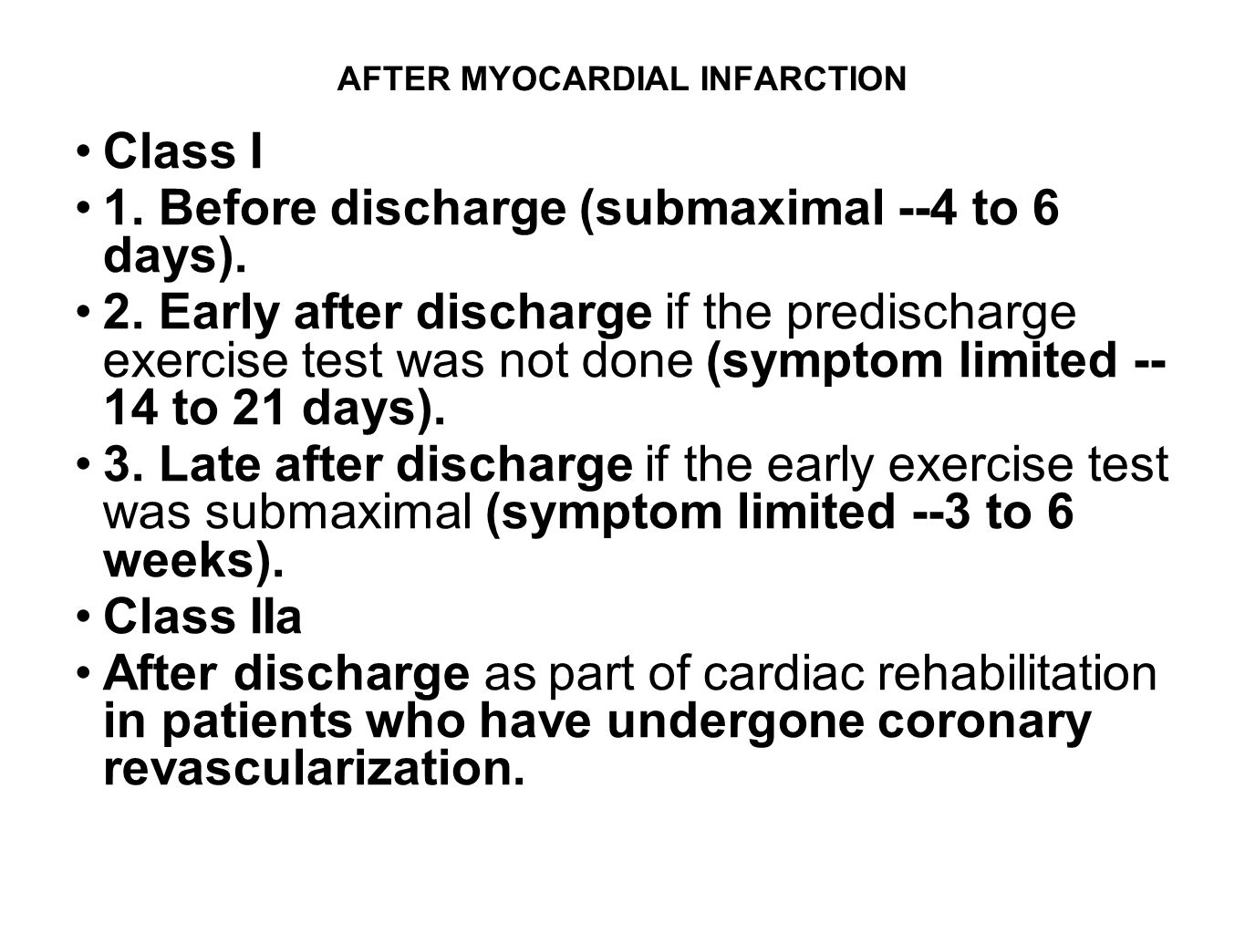 AFTER MYOCARDIAL INFARCTION