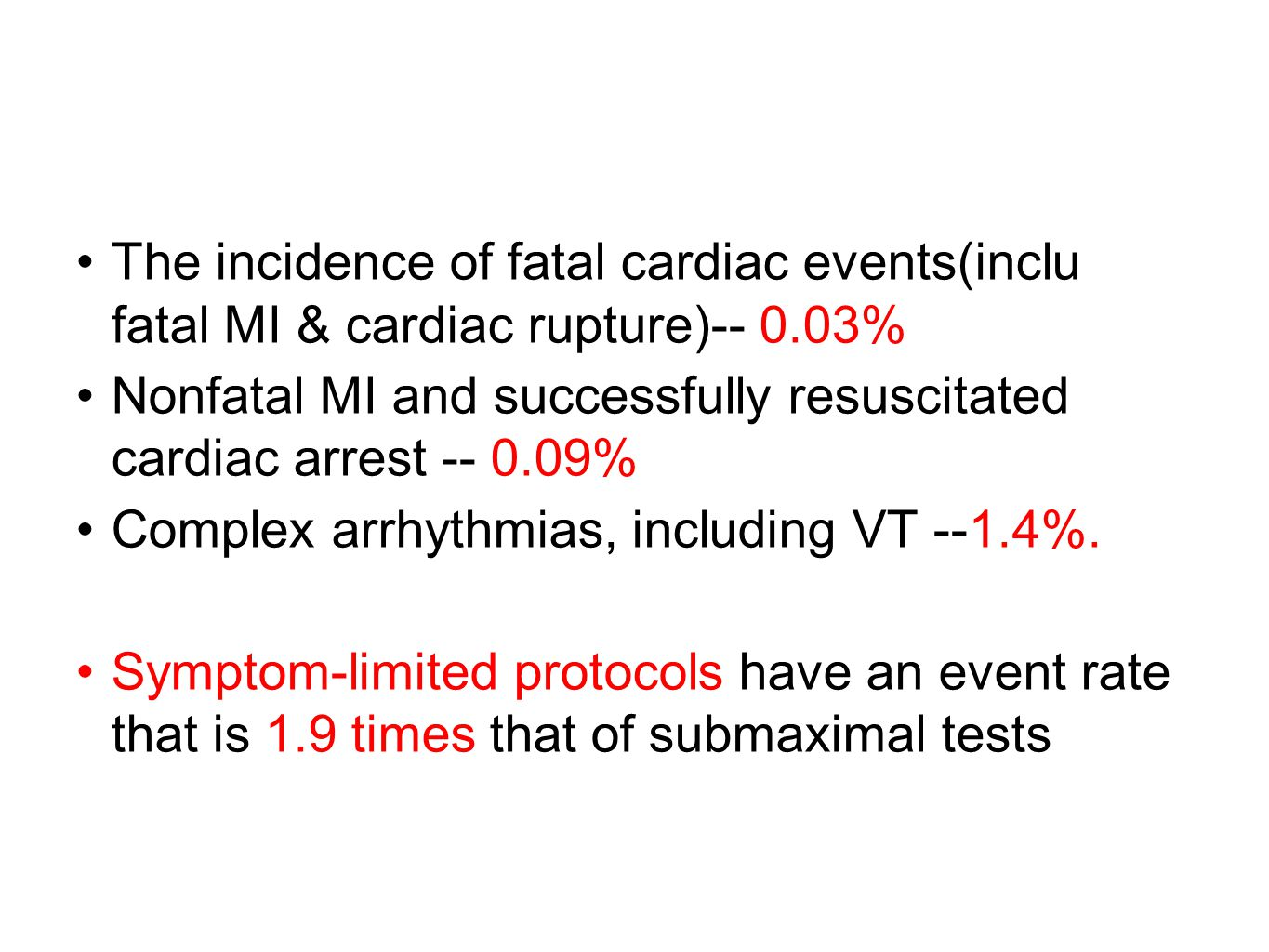 The incidence of fatal cardiac events(inclu fatal MI & cardiac rupture)-- 0.03%