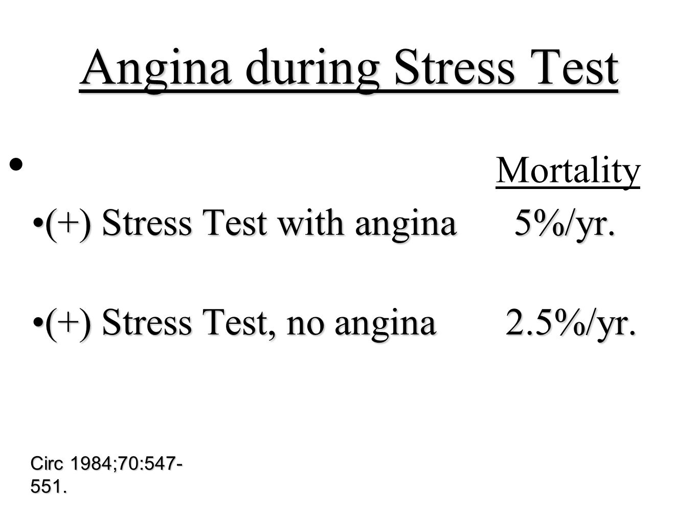 Angina during Stress Test