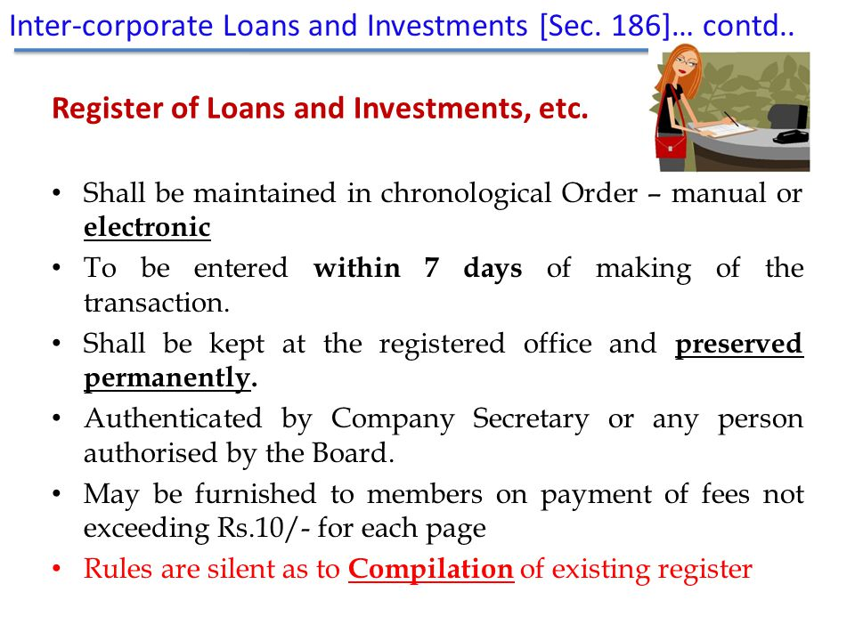 Register of Loans and Investments, etc.