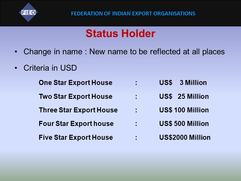 Status Holder Change in name : New name to be reflected at all places