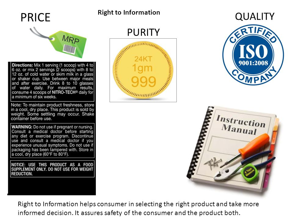 PRICE QUALITY PURITY Right to Information
