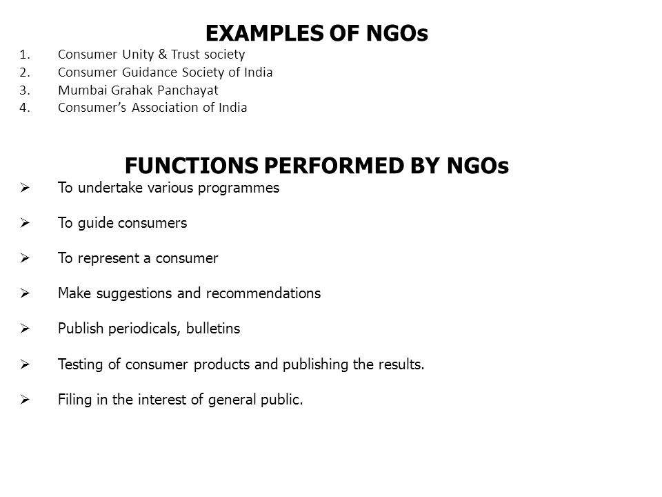 FUNCTIONS PERFORMED BY NGOs