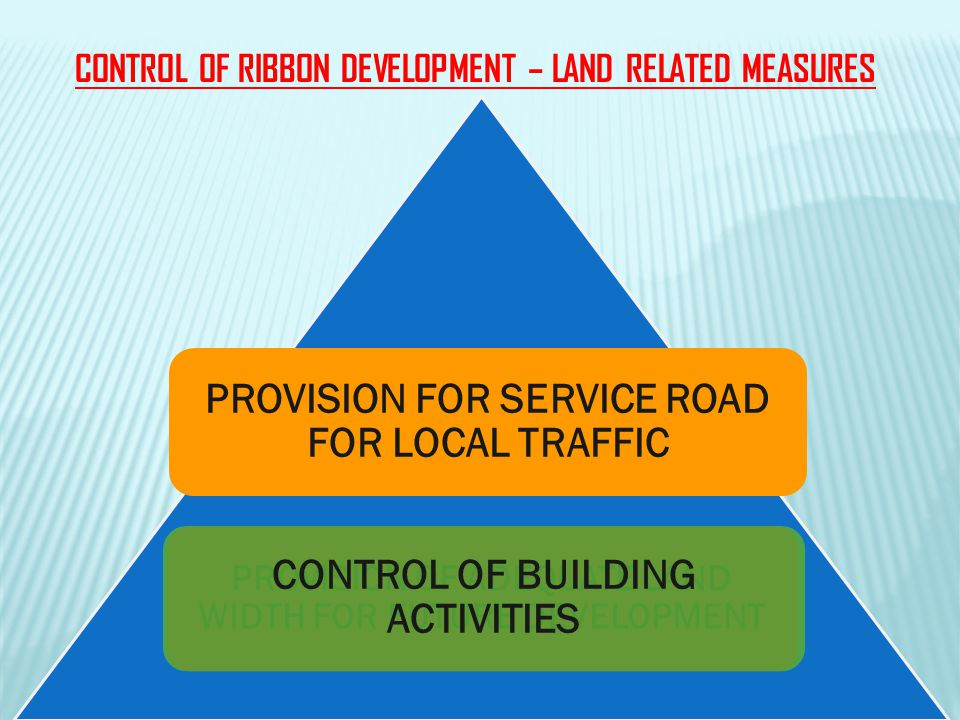 CONTROL OF RIBBON DEVELOPMENT – LAND RELATED MEASURES