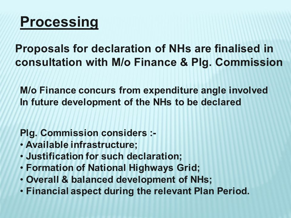 Processing Proposals for declaration of NHs are finalised in