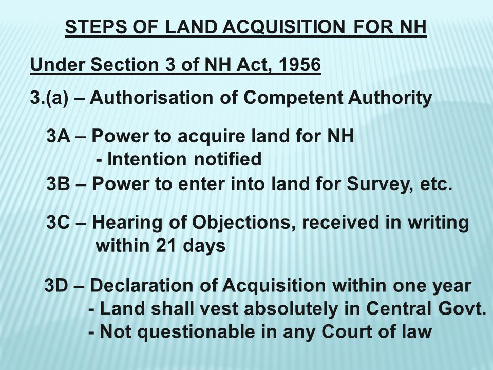 STEPS OF LAND ACQUISITION FOR NH