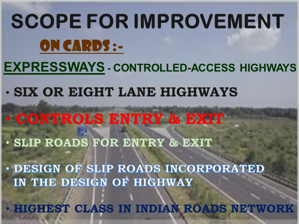 SCOPE FOR IMPROVEMENT ON CARDS :- CONTROLS ENTRY & EXIT