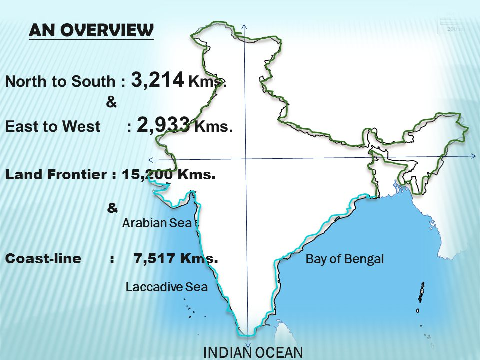 AN OVERVIEW North to South : 3,214 Kms. & East to West : 2,933 Kms.