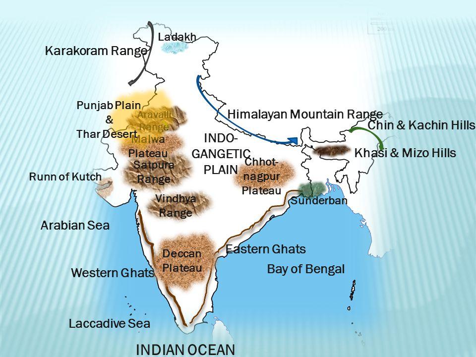 INDIAN OCEAN Karakoram Range Himalayan Mountain Range