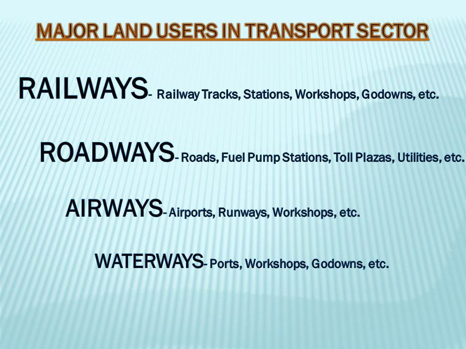 RAILWAYS- Railway Tracks, Stations, Workshops, Godowns, etc.