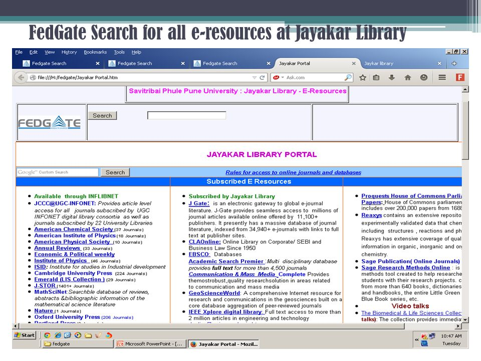 FedGate Search for all e-resources at Jayakar Library