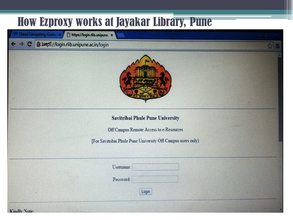 How Ezproxy works at Jayakar Library, Pune
