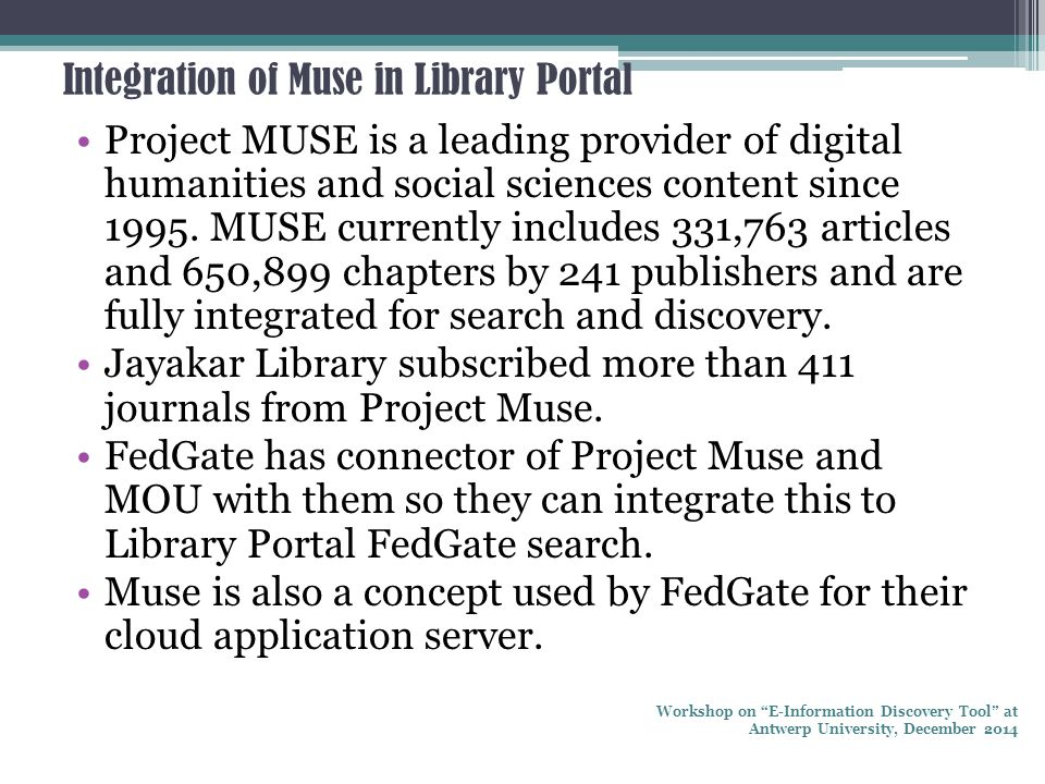 Integration of Muse in Library Portal