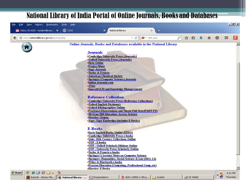 National Library of India Portal of Online Journals, Books and Databases