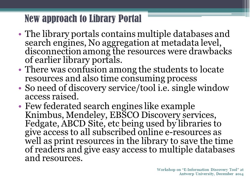 New approach to Library Portal