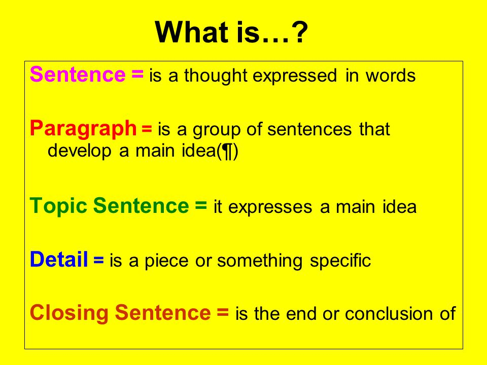 What is… Sentence = is a thought expressed in words