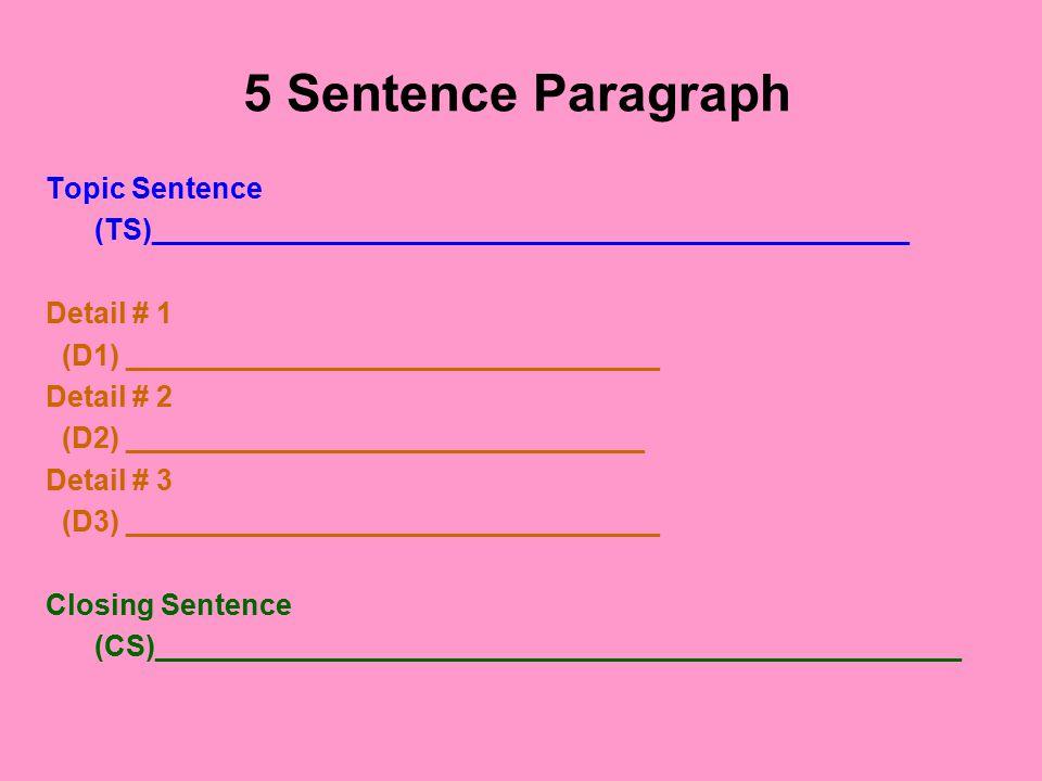 5 Sentence Paragraph Topic Sentence