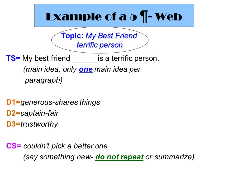 Example of a 5 ¶- Web Topic: My Best Friend terrific person