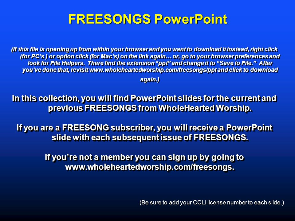 FREESONGS PowerPoint