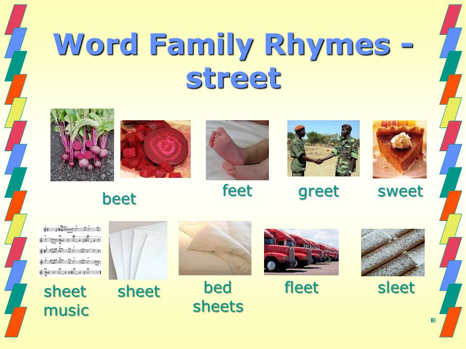 Word Family Rhymes - street
