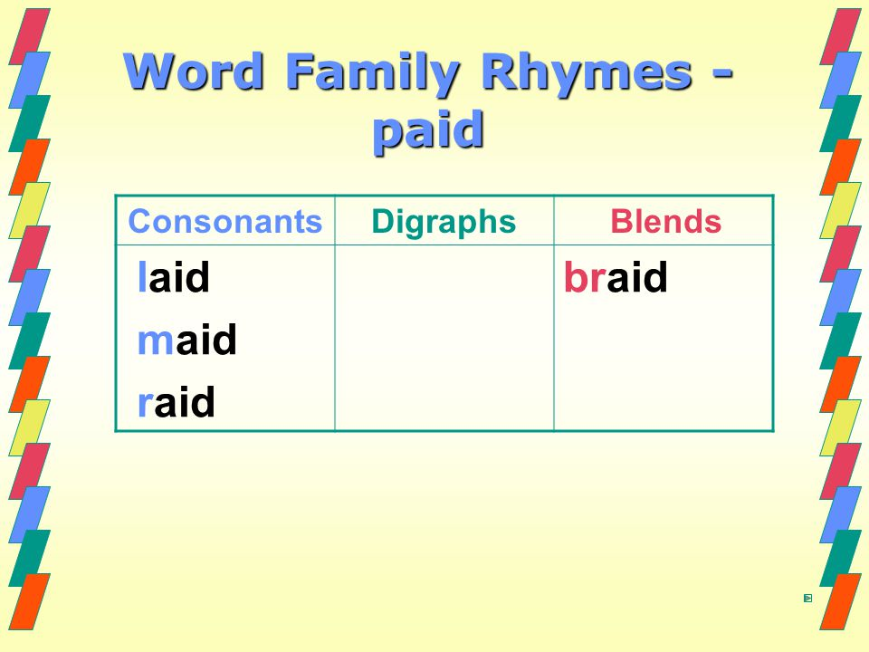 Word Family Rhymes - paid