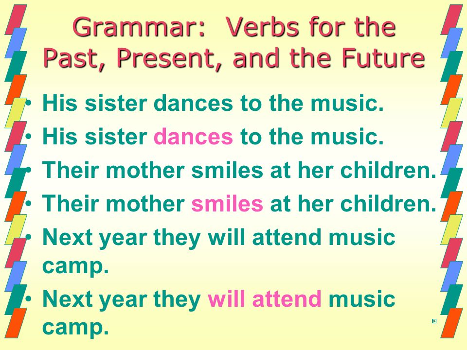 Grammar: Verbs for the Past, Present, and the Future