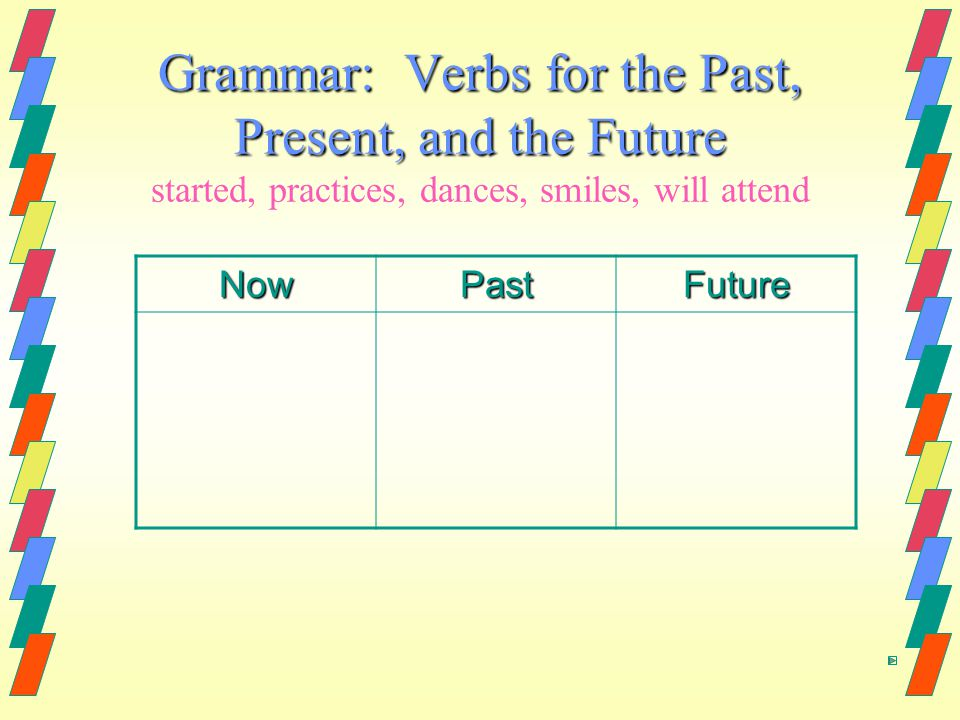 Grammar: Verbs for the Past, Present, and the Future started, practices, dances, smiles, will attend