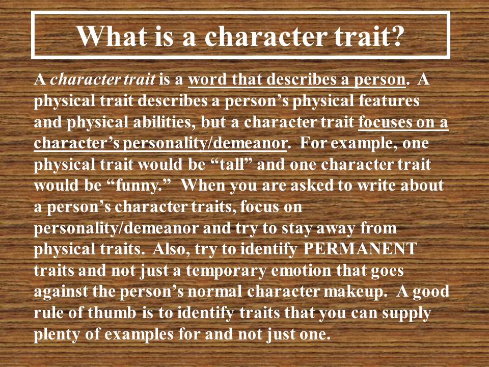 What is a character trait