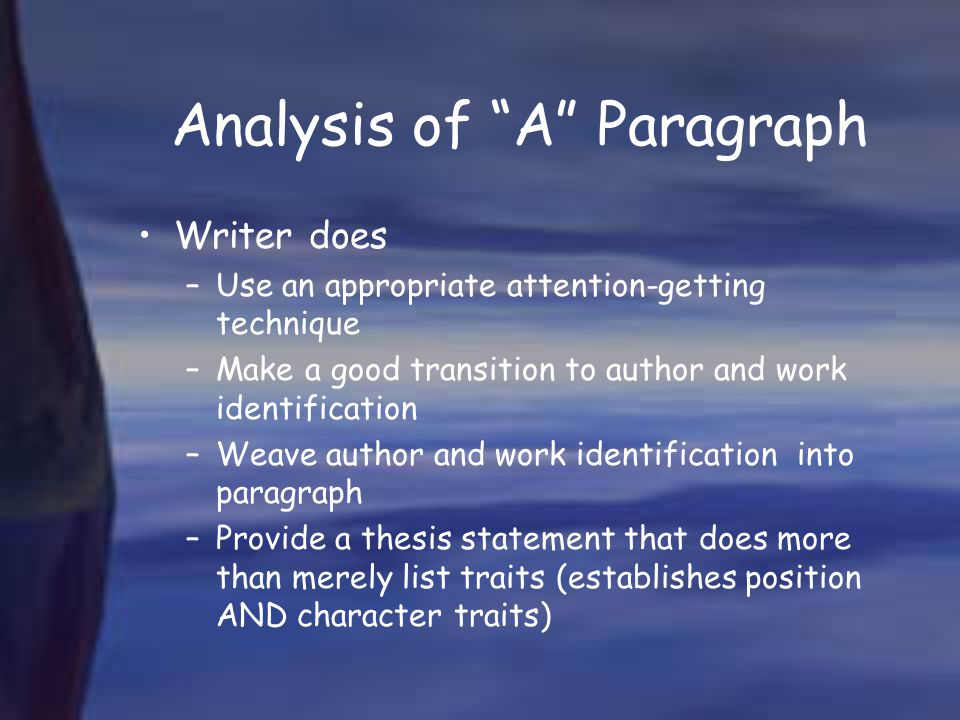 Analysis of A Paragraph
