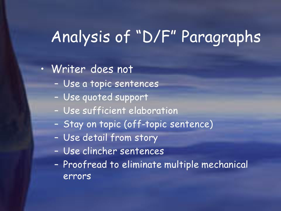 Analysis of D/F Paragraphs