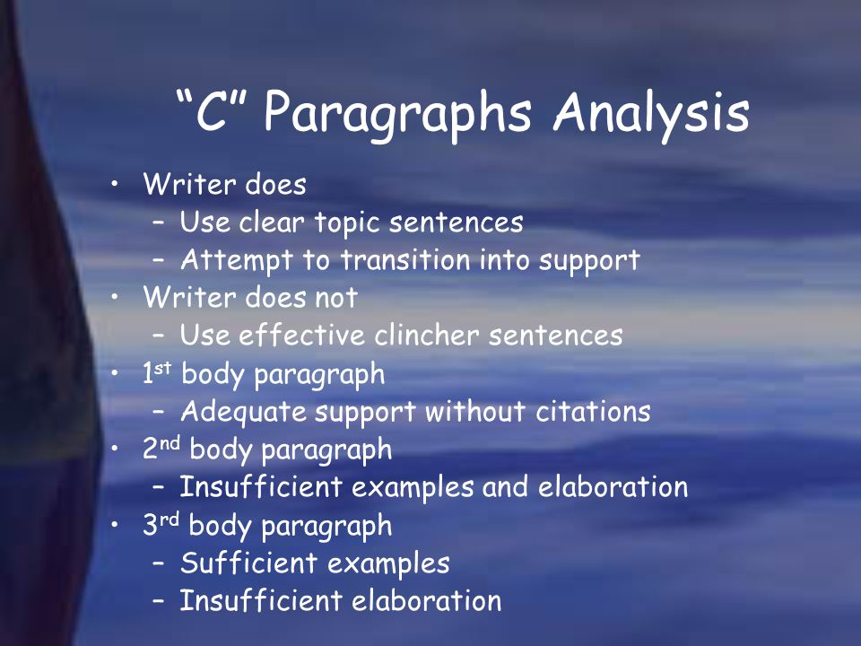 C Paragraphs Analysis