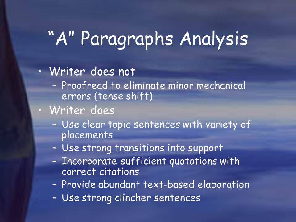 A Paragraphs Analysis